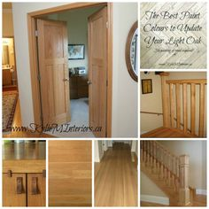 best paint colours to update or coordinate with light or pink pinkish undertone oak flooring, wood cabinets and trim