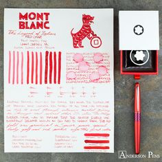 """thINKthursday - Montblanc The Legend of Zodiacs!! Celebrate The Year of The Dog with this true red ink. A charming crimson that will have you asking """"Can I keep it?""""  Full review and all the mouth-watering photos at the Anderson Pens Blog. blog.andersonpens.com -- #thinkthursday #fpn #fpgeeks #penaddict #fountainpenday #fountainpenink #inkophile #andersonpens #montblanc #montblancink @montblanc"""