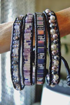 RELAX...4 Wrap Black Leather Bracelet by BraceletsofBlueRidge, $112.00