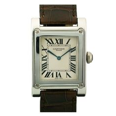 Cartier Platinum Tank à Vis Wristwatch from the Collection Privée | From a unique collection of vintage wrist watches at http://www.1stdibs.com/jewelry/watches/wrist-watches/