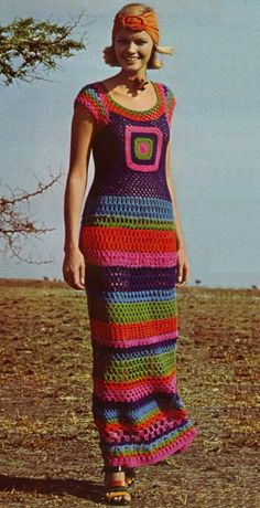 Beautiful Hippie Boho crochet dress. Vintage 60's 70's.