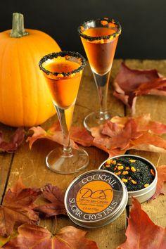 Halloween cocktail rim sugar - Haunted Pumpkins rim sugar drinks - orange pumpkins, black sparkle sugar, Halloween decorations party ideas