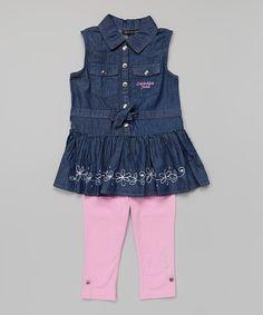 Another great find on #zulily! Dark Denim Jumper & Pink Leggings - Infant, Toddler & Girls by Calvin Klein Jeans #zulilyfinds