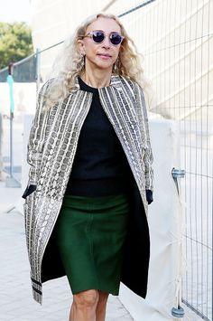 Emerald green pencil skirt and snake print coat.