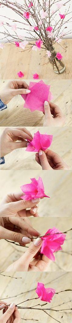Basteln für den Frühling: So machst due einen Kirschbluetenstrauch aus Seidenpapier