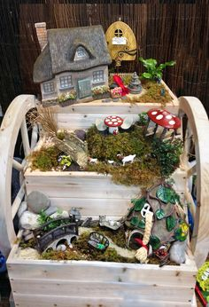 Fairy Garden Contest – Plow & Hearth Store in Charlottesville, VA entry. HONORABLE MENTION: This garden focused on a Fairy Tale theme, which was clever. The tiered approach in the planter added lots of visual interest, while each tier told a different fairy tale story including Little Red Riding Hood, Billy Goats Gruff and Rapunzel.