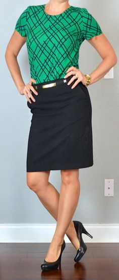 Outfit Posts: outfit post: green pattern crepe blouse, black pencil skirt, black pumps