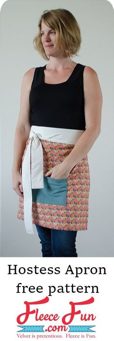 This Easy Apron Tutorial is an easy sewing project that is perfect for beginners. It also make a great handmade gift ideas. I love cute apron pattern Wonderful apron DIY. Half Apron Patterns, Apron Pattern Free, Easy Sewing Patterns, Easy Sewing Projects, Sewing Hacks, Sewing Tutorials, Sewing Tips, Sewing Ideas, Fleece Projects