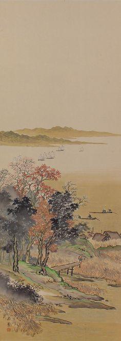 Autumn Landscape by Kawai Gyokudō (1873 - 1957). Japanese Hanging scroll painting, Kakejiku.