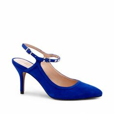 Women's Crystal Blue Suede 3 Inch Mid Heel Slingback | Alexendra by Sole Society (34.98)