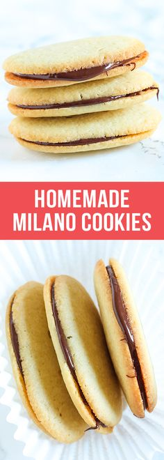 Impress your friends with these Homemade Milano Cookies! They're even better than store-bought and surprisingly simple to make. YUM.  #homemade #milano #milanocookies #cookie #copycatrecipes #dessertrecipes #dessert