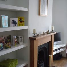 Simple shelves fitted into alcoves are probably the thing I am asked to build more often than anything else. The MDF shelves pictured here are an excellent and affordable was … Living Room Shelves, Living Room Storage, New Living Room, Interior Design Living Room, Home And Living, Living Room Decor, Dining Room, Alcove Bookshelves, Alcove Shelving