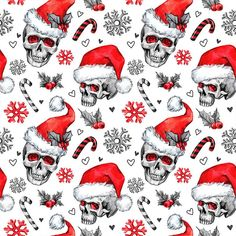 CHRISTMAS SKULLS - Cotton woven fabric