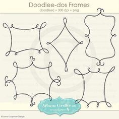 Doodles Instant Download, Line Art Frames for Scrapbooking, Clipart