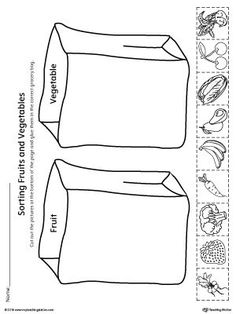 Help your child identify the difference between fruits and vegetables by sorting the pictures into the correct grocery bag in this science printable worksheet. Kindergarten Worksheets, Worksheets For Kids, Printable Worksheets, Preschool Activities, Free Preschool, Preschool Kindergarten, Weather Worksheets, Spanish Worksheets, Multiplication Worksheets