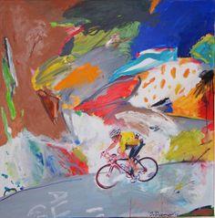 © Artist: Jan van Diemen, Wielrenner in kleurrijk landschap 140cm x 140cm see at SilleKunst.nl