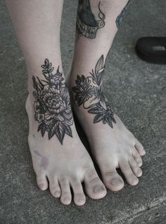 black&white floral #tattoos