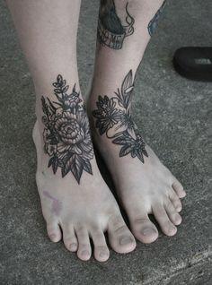 black&white floral #tattoos