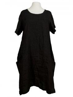 Damen Leinenkleid A-Form, schwarz von Spaziodonna bei www.meinkleidchen.de