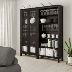 HEMNES Storage combination w/glass doors - black-brown - IKEA