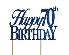 All About Details Blue Happy-70th-birthday Cake Topper => Get more discounts! Click the pin : Baking supplies