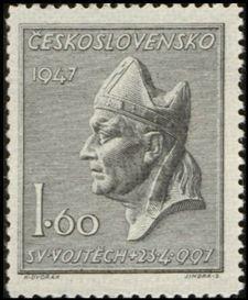 Bélyeg: Sv.Vojtěch (Csehszlovákia) (St. Adalbert halálának 950. évfordulója) Mi:CS 515,Sn:CS 326,Yt:CS 443,AFA:CS 363,POF:CS 450