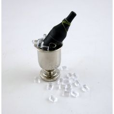 Dolls House Miniature Pub Dining Accessory Champagne on Ice in Silver Bucket