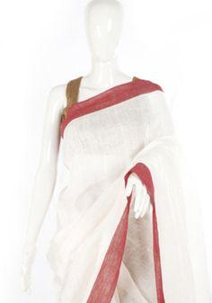 White Linen Saree with Maroon Border – Desically Ethnic