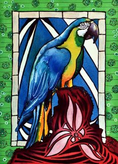 Karavella Atelier: In Love With a Macaw tropical bird arara painting by Dora Hathazi Mendes