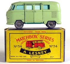 1950s Lesney Matchbox No 34 Grey Wheel Volkswagen Camping Car Bus