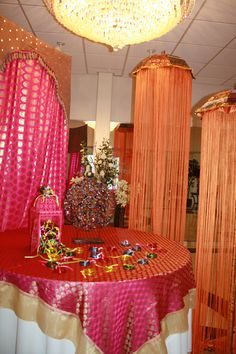 Mehndi party entrance welcome table