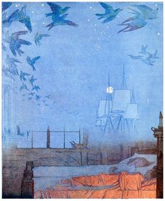 Frederick Cayley Robinson, frontispiece from The blue bird, by  Maurice Maeterlinck, New York, 1920.  (Source: archive.org)