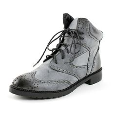 Design Point Toe Carving Lacing Short Martin Boots