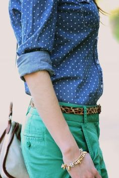 1. animal print belt and also green pants (neutral enough). Dots + leopard + green 2. Med/Light blue pants (neutral enough) to wear w/ my spring orange striped shirt and other pieces too.