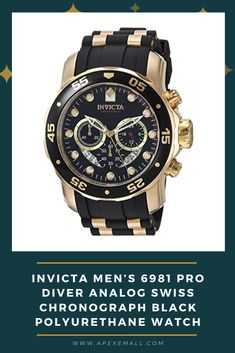 Details: #Imported #Boasting both high tech and high style, this watch from Invicta Men's Pro Diver collection is sure to satisfy with its sleek black and gold color scheme accented with a trio of subdials and a unidirectional bezel #Japanese quartz movement with analog display. #Protective mineral crystal dial window. #Water resistant to 330 feet (100 M): Suitable for snorkeling, as well as swimming, but not diving. #Case Size: 48mm. Band Length: 240mm. Price: $80.00 For purchase, Click on…