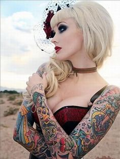 Sweet :) love pin up style with tattoos :)