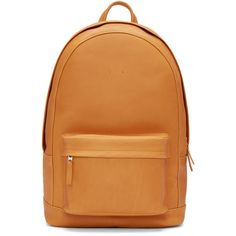 Pb 0110 Camel Leather CA 6 Backpack ($625) ❤ liked on Polyvore featuring bags, backpacks, camel bag, leather zipper backpack, genuine leather backpack, leather backpack bag and backpacks bags