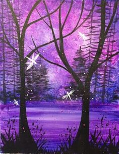 View Paint and Sip Artwork - Pinot's Palette Diy Painting, Painting & Drawing, Dragonfly Painting, Purple Painting, Cool Paintings, Acrylic Paintings, Tree Paintings, Paint And Sip, Paint Party