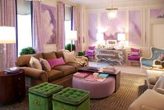 Lilac, purple, lavender, and white, green seats, Greek key trim on the wall, by Eileen Kathryn Boyd