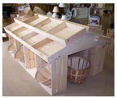 wooden crate displays | Wooden Country Barn Style Store Floor Display, Wooden Floor Display