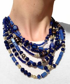 A handmade statement necklace in BLUES! Made by {jewelry by jessica theresa} on Etsy!  https://www.etsy.com/listing/86567900/classic-statement-necklace-blue-navy?listing_id=86567900_slug=classic-statement-necklace-blue-navy