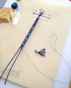 Marion Jewels in Fiber - News and Such: Set up to Demo the Leather Wrap Bracelet..