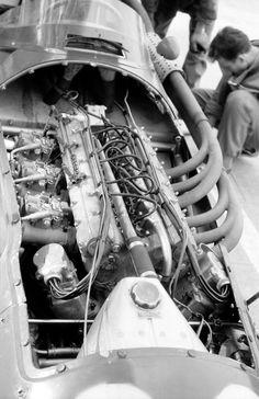 1956: The uncovered engine of Stirling Moss' race-winning Maserati 250F