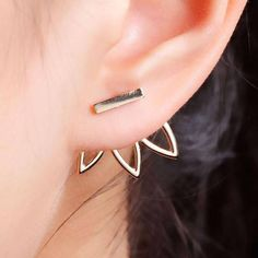 Cheap bar stud earrings, Buy Quality fashion stud earrings directly from China stud earrings Suppliers: DoreenBeads Vintage Lotus Earrings Metal Bar Stud Earrings Fashion Ear Jacket Woman Jewelry Gold Color / Dull Silver Color, 1 PC Gold Bar Earrings, Flower Earrings, Women's Earrings, Jacket Earrings, Ear Jacket, Double Sided Earrings, Style Blogger, Earring Backs, Earring Set