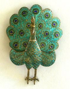 peacock cloisonne | Vintage Peacock Cloisonne Siam Brooch Gift by VintageObjectsShoppe