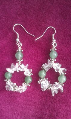 Jade and Clear Quartz Earrings on Etsy, $10.00