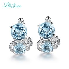 Good price I&zuan Trendy Earrings 6.7ct Double Topaz Blue Elegant  Stud Earring Sterling Silver Jewelry Earrings 925 Sterling Silver just only $182.00 with free shipping worldwide  #finejewelry Plese click on picture to see our special price for you