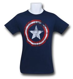 Images of Captain America Distressed Shield Navy T-Shirt