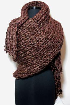 KnotJustFuzzy Blanket Scarf/GenTWO-44-Brown-Big Scarf $160.00 www.knotjustfuzzy.com