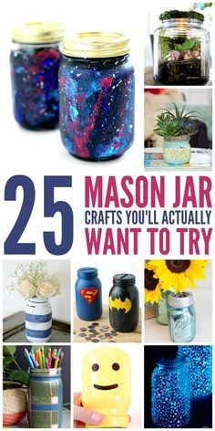 25 Mason Jar Crafts that You'll actually want to try – absolute favorite tutorials and DIY for all those mason jars you own! 25 Mason Jar Crafts that You'll actually want to try – absolute favorite tutorials and DIY for all those mason jars you own! Mason Jar Gifts, Mason Jar Diy, Diy Decorate Mason Jars, Decorating Mason Jars, Mason Jar Bank, Mason Jar Storage, Diy Projects To Try, Craft Projects, Mason Jar Projects
